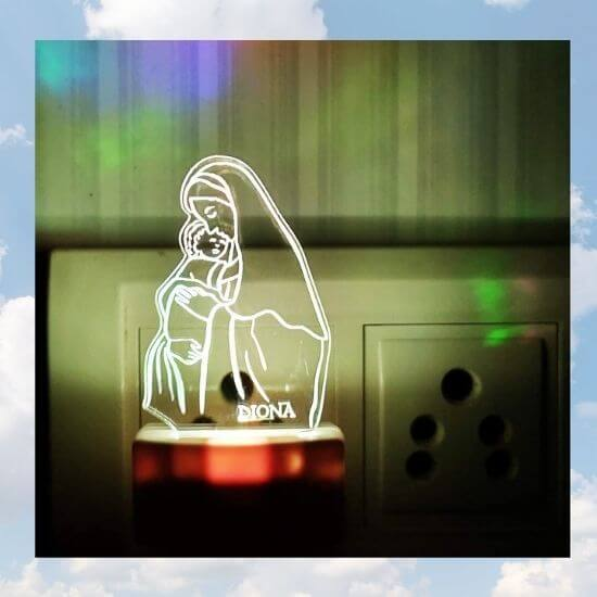 3D Mary with Jesus LED Lamp