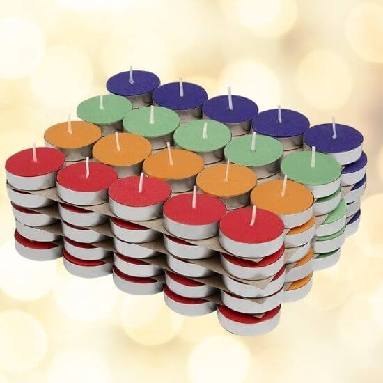Coloured Wax Tealight Candles