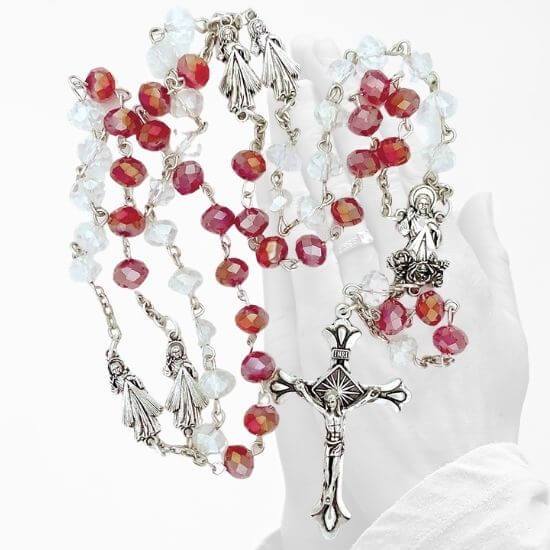 Crystal Divine Mercy Rosary (Red & White)