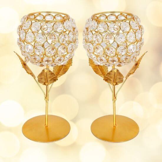 Crystal Rose Brass Candle Holder