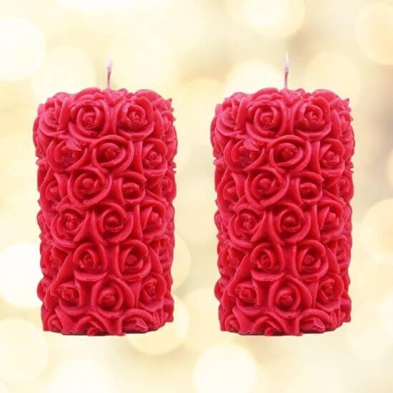 Designer rose candles