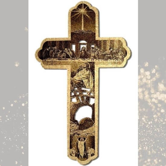Engraved Jesus Story on Wooden Cross