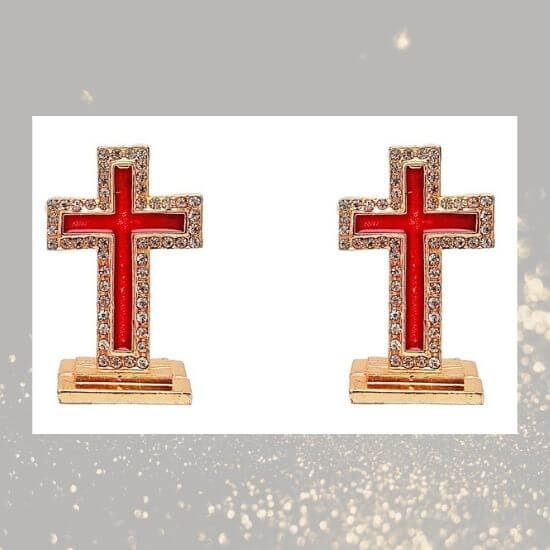 Gold Plated Holy Cross with stones