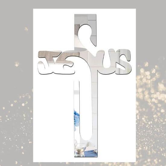 Jesus Cross Silver Acryclic 3D sticker